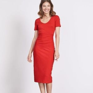Boden Honor Ponte Dress in Postbox Red